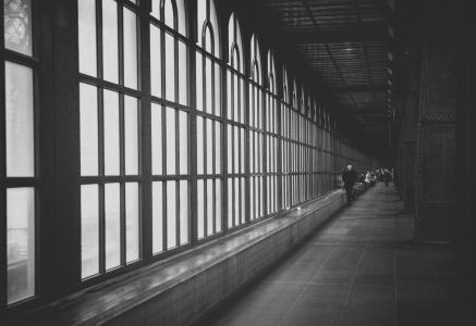 走廊, windows, 工业, 金属, 玻璃, 铆接, 建筑