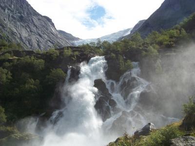 冰川, 瀑布, 挪威, 自然, 山, 河, 风景