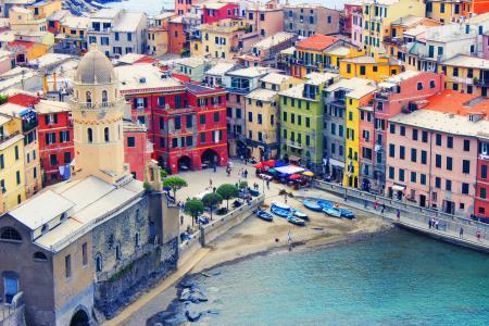 意大利, 利古里亚, 五渔村, 海, 房屋, 颜色, vernazza