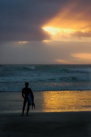 冲浪者, 日落, 一个, 天空, 海滩, 海, 夏季
