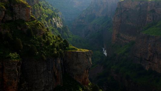 河, 峡谷, 岩石, 岩石, 自然, 晚上, 景观