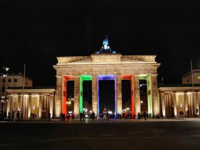 勃兰登堡门, 柏林在晚上, 柏林, 城市灯, 艺术