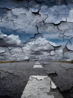 道路, 墙上, 世界末日, 片状, 天空, 云彩, 过去