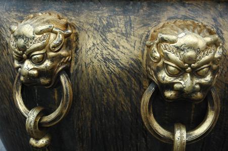 中国, 利昂, 戒指, 黄色, 数字, 装饰, 铜