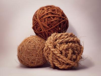 三球, 领域, 装饰, 棕色, 绳子, 球, 天然棕色装饰