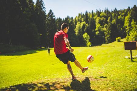 球, 足球, 公园, 人, 足球, 体育, 树木