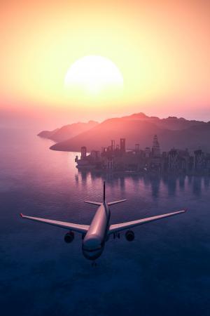 飞机, 飞机, 航空, 城市, 黎明, 黄昏, 飞行