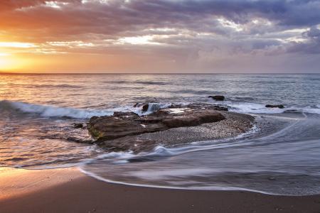 海滩, 多云, 海岸, 黎明, 黄昏, 地平线, 运动模糊