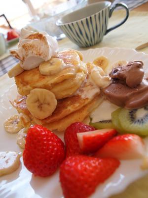 套房, 煎饼, 早餐, 水果, 草莓, 甜点, 食品