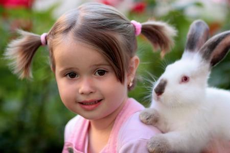 女孩, 兔子, 友谊, 爱, 用品, 兔-动物, 儿童