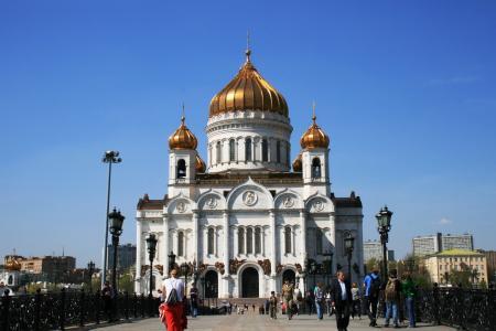 大教堂, 俄罗斯东正教, 宗教, 建筑, 游客, 人行天桥, 横渡莫斯科河