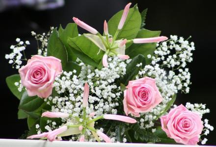 新娘花束, 玫瑰, 新娘面纱, 花, 白色, 浪漫, 花束