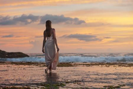 成人, 有吸引力, 海滩, 美丽, 黎明, 黄昏, 假期