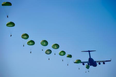 军队, 游骑兵, 跳伞, 跳跃, 飞机, 飞机, 军事
