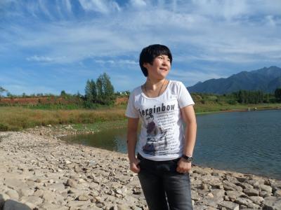 女人, 中文, 女性, 景观, 女士, 湖, 蓝蓝的天空