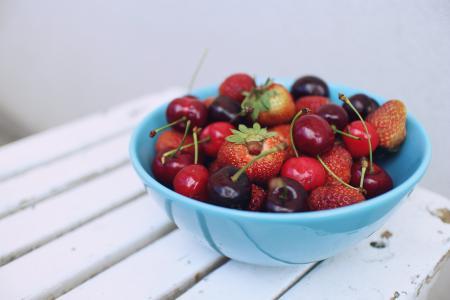 樱桃, 草莓, 填充, 蓝色, 陶瓷, 碗里, 草莓