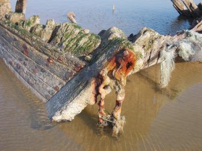 残骸, 小船, 遗产, 船舶, 海滩, vonette, 商船
