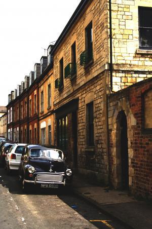 莫里斯小调, 汽车, 街道, 露台, 英格兰