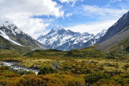 奥拉基, 库克山, 山, 新西兰, 高山, 天空, 云计算