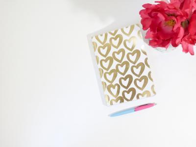 植物区系, 花, 心, 极简主义, 笔记本, 钢笔, 表