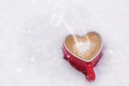 情人节那天, 情人节, 爱, 咖啡, 心杯, 雪, 冬天