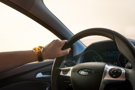 汽车, 驾驶, 男子, 车轮, 手, 手表, 太阳
