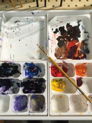 艺术家调色板, 艺术家绘画, 画笔和颜料, 明亮的颜色