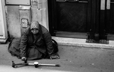 吉普赛人, 乞丐, 巴黎, 街道, 人, 黑色和白色, 贫困