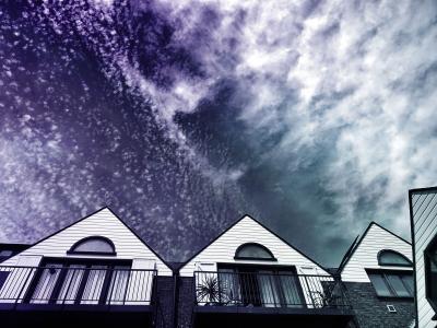 建筑, 建筑, 云计算, 黑暗, 表达式, 首页, 房屋