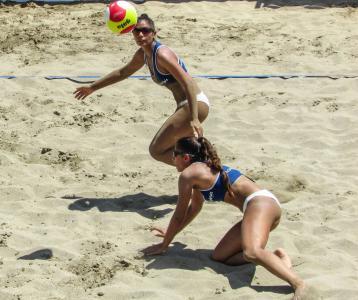 沙滩排球, 行动, 议案, 夏季, 排球, 体育, 沙子