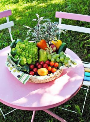 蔬菜, 园桌, 夏季, 自然, gedeckter 表, 健康, 吃