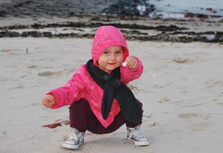 儿童, 海滩, 壳, 克劳奇, 坐, 可爱, 人
