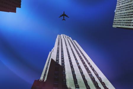 飞机, 建筑, 建筑, 城市, 市中心, 纽约, 纽约城