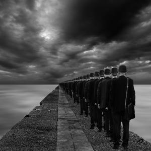 同化, 超现实, 人, 男子, 等待, 街道, 订单