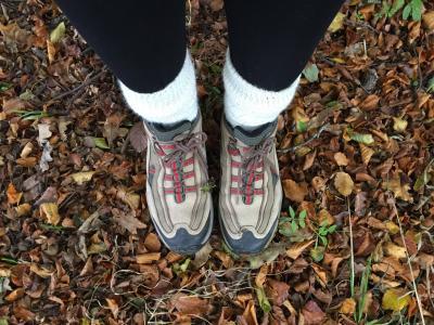 秋天, 靴子, 叶子, 户外, 行走, 农村, 鞋子