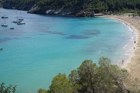 伊维萨岛, 海, 预订, 西班牙, 绿松石, 巴利阿里群岛, 小船