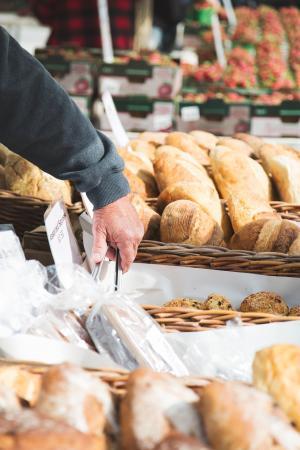 农民市场面包师的手