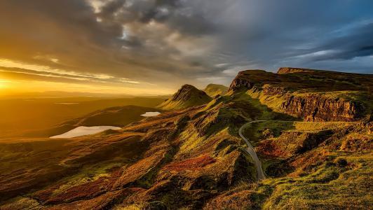 苏格兰, 景观, 风景名胜, 山脉, 小山, 日落, 天空