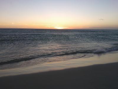日落, 海滩, mar