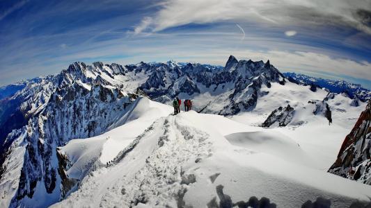 瑞士, 勃朗峰, 蒙特勒, 的, 雪, 山, 冬天