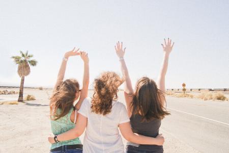 女朋友, 沙漠, 热, 乐趣, 美国, 朋友, 最好的朋友