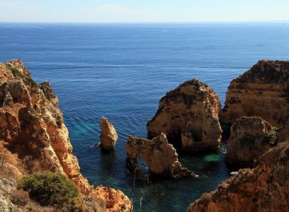 阿尔加维, 葡萄牙, 海, 岩石, 悬崖, 大西洋, 海洋