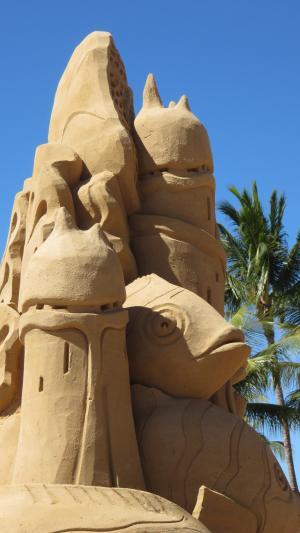沙子城堡雕塑, 海滩, 蓝蓝的天空, 海, 沙堡, 城堡, 沙子