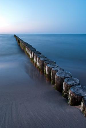 丁坝, 海, 波罗地海, 海滩风景, 傍晚的太阳, 德国北部, 日落
