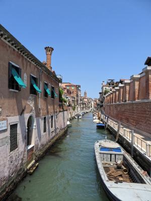 意大利, 威尼斯, 通道, 小船, 外墙, 码头, 房屋