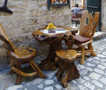 克罗地亚, 拆分, 街景, 小巷, 座位安排, 表, 椅子