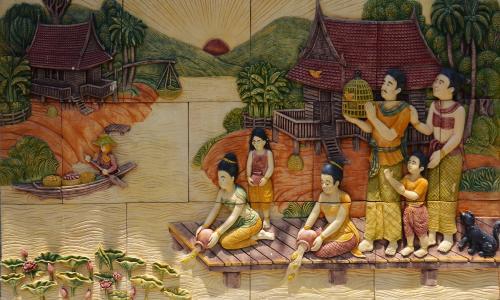 泰国, 妇女, 河, 水, 女性, 年轻, 人