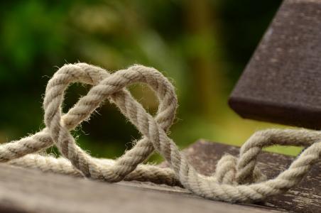 绳子, 针织, 心, 爱, 在一起, 友谊, 结