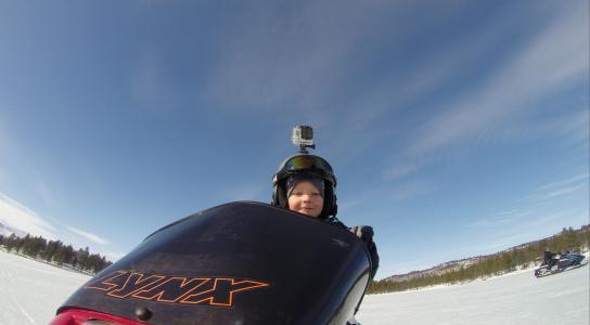 滑板车, 儿童, 班雪橇, 头盔, 冬天, gopro, 雪