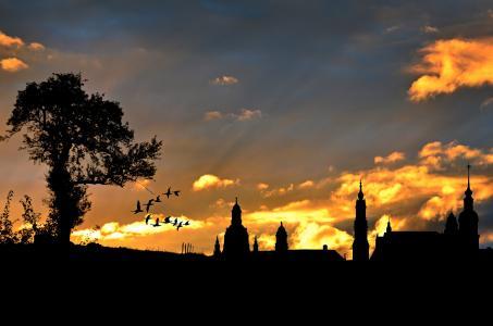 城市景观, 傍晚的天空, 剪影, 建筑, 建设, abendstimmung, 日落